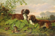 Two Setters and Quail painting reproduction, Arthur Fitzwilliam Tait