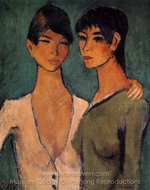 Two Sisters painting reproduction, Otto Mueller