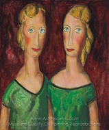 Two Sisters in Green painting reproduction, Alfred Henry Maurer