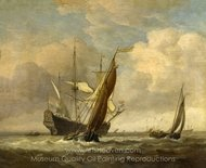 Two Small Vessels and a Dutch Man-of-War in a Breeze painting reproduction, Willem Van De Velde, The Elder