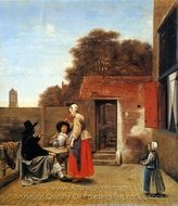 Two Soldiers and a Woman Drinking painting reproduction, Pieter De Hooch
