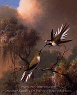Two Sun Gems on a Branch painting reproduction, Martin Johnson Heade