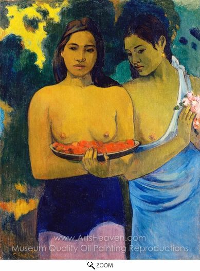 Paul Gauguin, Two Tahitian Women oil painting reproduction