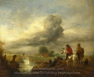 Two Vedettes on the Watch by a Stream painting reproduction, Philips Wouwerman