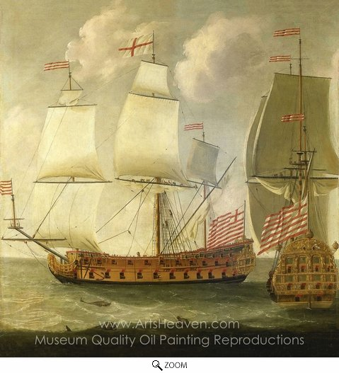 Isaac Sailmaker, Two Views of an East Indiaman of the Time of King William III oil painting reproduction