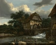 Two Watermills and an Open Sluice painting reproduction, Jacob Van Ruisdael