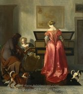 Two Women and a Man Making Music painting reproduction, Jacob Ochtervelt