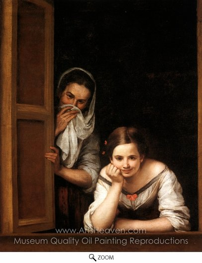 Bartolome Esteban Murillo, Two Women at a Window oil painting reproduction