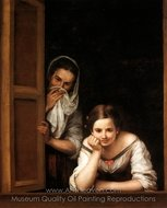 Two Women at a Window painting reproduction, Bartolome Esteban Murillo