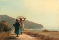 Two Women Chatting by the Sea, St. Thomas painting reproduction, Camille Pissarro