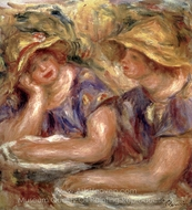 Two Women in Blue Blouses painting reproduction, Pierre-Auguste Renoir