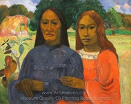 Two Women (Mother and Daughter) painting reproduction, Paul Gauguin