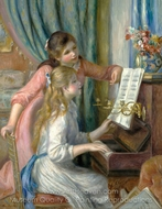 Two Young Girls at the Piano painting reproduction, Pierre-Auguste Renoir