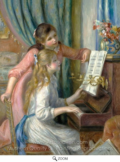 Pierre-Auguste Renoir, Two Young Girls at the Piano oil painting reproduction