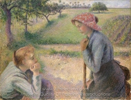 Two Young Peasant Women painting reproduction, Camille Pissarro