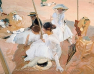 Under the Awning, on the Beach at Zarauz painting reproduction, Joaquin Sorolla