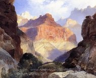 Under the Red Wall, Grand Canyon of Arizona painting reproduction, Thomas Moran