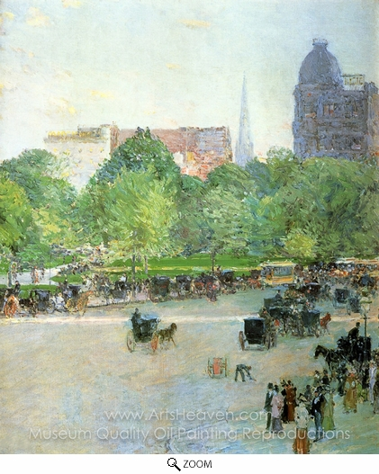 Childe Hassam, Union Square oil painting reproduction