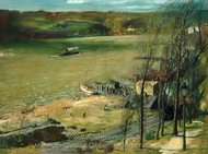 Up the Hudson painting reproduction, George Wesley Bellows