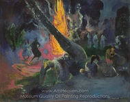 Upa Upa (The Fire Dance) painting reproduction, Paul Gauguin