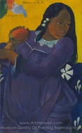 Vahine no te vi (Woman with a Mango) painting reproduction, Paul Gauguin