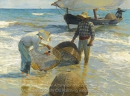 Valencian Fishermen painting reproduction, Joaquin Sorolla