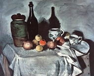 Vase, Bottle, Cups, and Fruit painting reproduction, Paul Cézanne