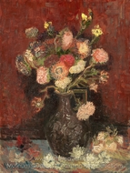 Vase with Chinese Asters and Gladioli painting reproduction, Vincent Van Gogh