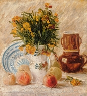 Vase with Flowers, Coffeepot and Fruit painting reproduction, Vincent Van Gogh