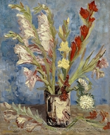 Vase with Gladioli and China asters painting reproduction, Vincent Van Gogh