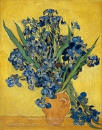 Vase with Irises against a Yellow Background painting reproduction, Vincent Van Gogh