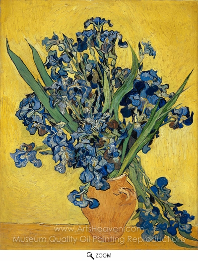 Vincent Van Gogh, Vase with Irises against a Yellow Background oil painting reproduction