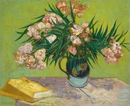 Vase with Oleanders and Books painting reproduction, Vincent Van Gogh