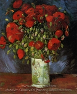 Vase with Red Poppies painting reproduction, Vincent Van Gogh