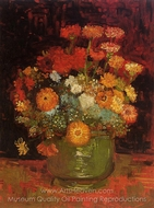 Vase with Zinnias painting reproduction, Vincent Van Gogh