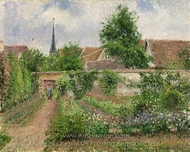 Vegetable Garden, Overcast Morning, Eragny painting reproduction, Camille Pissarro
