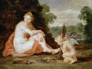 Venus and Cupid Warming Themselves painting reproduction, Peter Paul Rubens