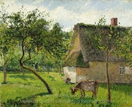 Verger a Varengeville avec Vache painting reproduction, Camille Pissarro