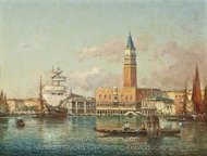 Vessels Before the Molo, Venice painting reproduction, Antoine Bouvard