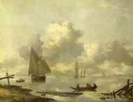 Vessels in Light Airs on a River Near a Town painting reproduction, Jan Van De Cappelle