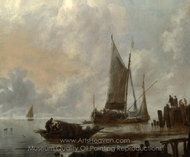 Vessels Moored off a Jetty painting reproduction, Jan Van De Cappelle