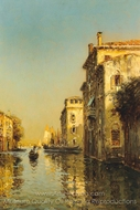 Vessels on a Venetian Backwater painting reproduction, Antoine Bouvard