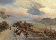 Via Cassia Near Rome painting reproduction, Oswald Achenbach