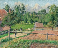 View from the Artist's Window, Eragny painting reproduction, Camille Pissarro