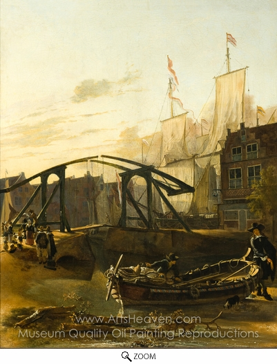 Adam Pynacker, View of a Harbor in Schiedam oil painting reproduction