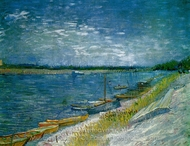 View of a River with Rowing Boats painting reproduction, Vincent Van Gogh