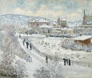 View of Argenteuil, Snow painting reproduction, Claude Monet