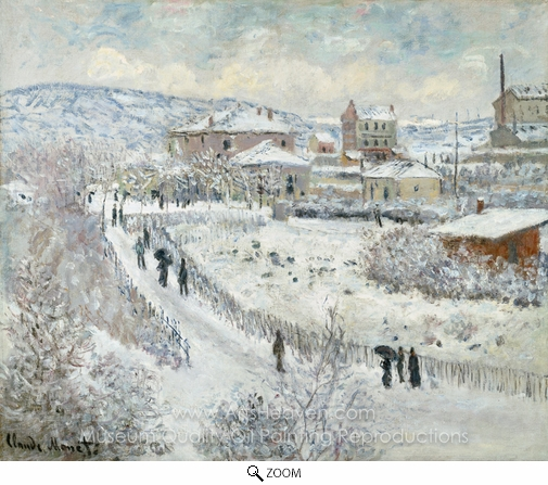 Claude Monet, View of Argenteuil, Snow oil painting reproduction