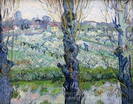 View of Arles, Flowering Orchards painting reproduction, Vincent Van Gogh