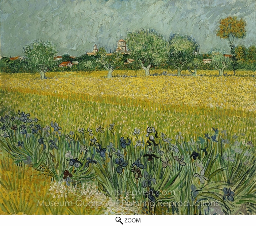 Vincent Van Gogh, View of Arles with Irises in the Foreground oil painting reproduction